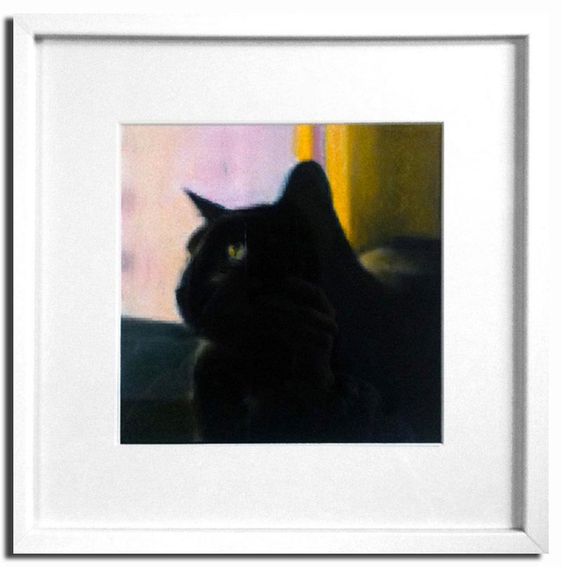 Chat noir Pastel sec 20x20cm Encadré sous-verre (Réservé)