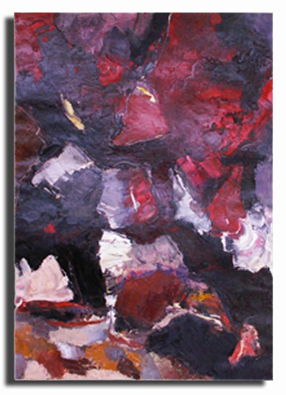 Faille rouge Huile sur toile 40cm x 50cm, encadré (Disponible)