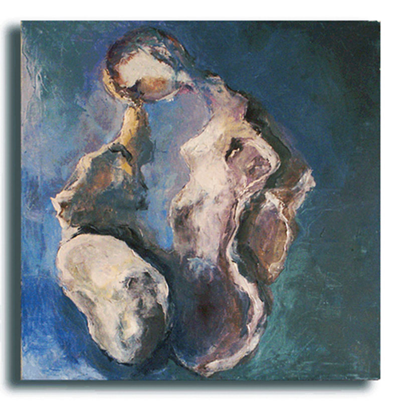Pensée Huile sur toile 70 x 70 cm, encadré (Réservé)