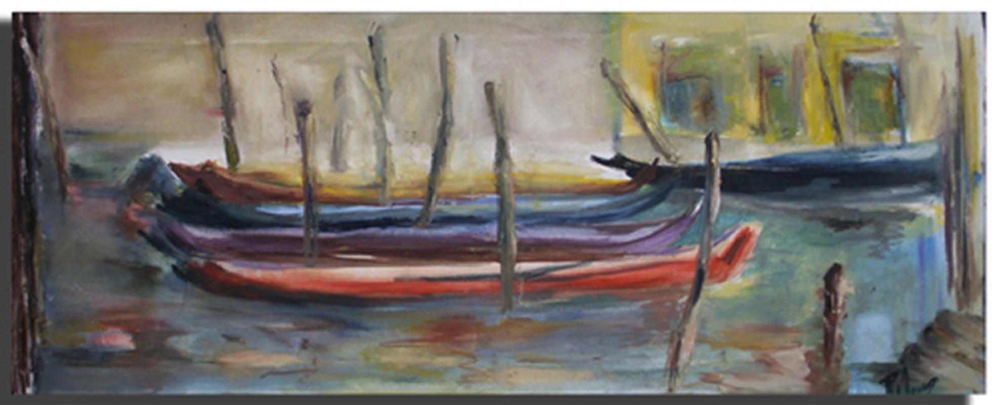 Gondoles Huile sur toile 30cm x 70cm, encadré (Disponible)