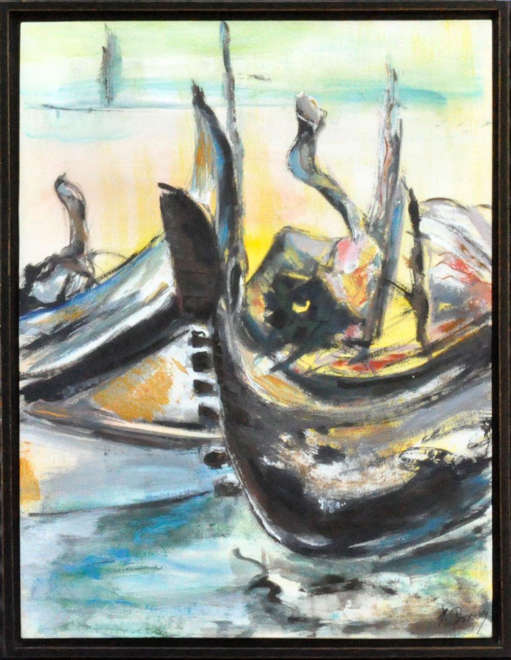Gondoles2 Huile sur papier marouflé sur toile 47cm x 61cm (Réservé)