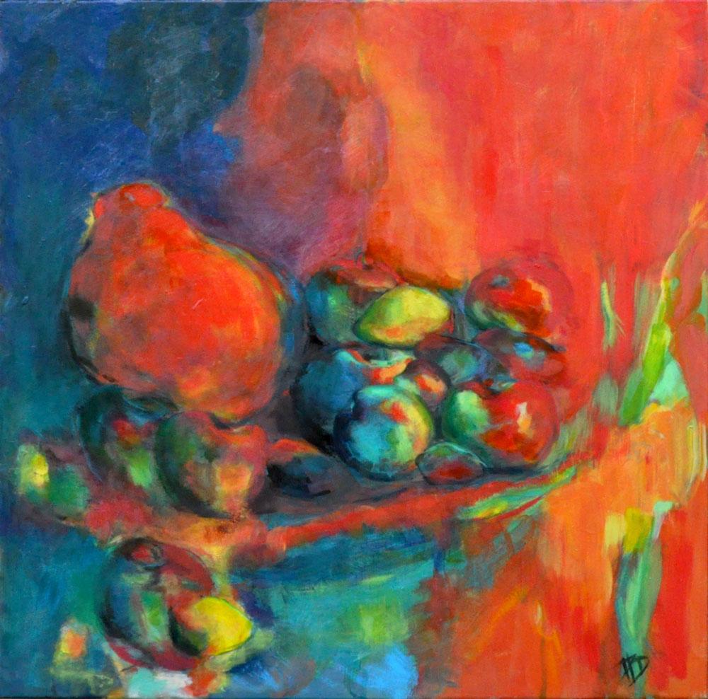 Nature morte rouge Acrylique sur toile 70cm x 70cm (Disponible)