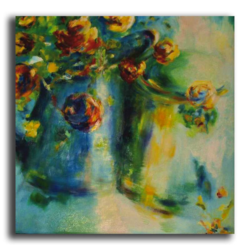Roses Huile sur toile 80 x 80 cm (Réservé)