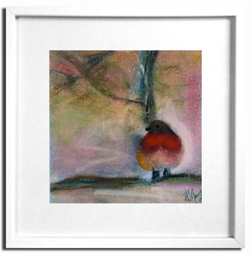 Rouge-gorge en automne Pastel sec 20x20cm Encadré sous-verre (Disponible)