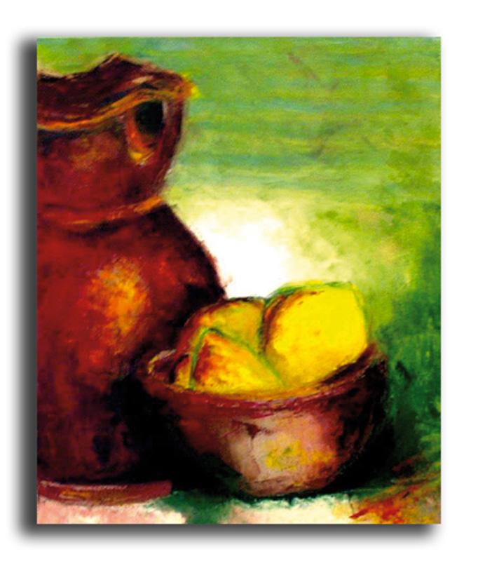 Citrons Huile sur toile 50 x 70 cm, encadré (Disponible)