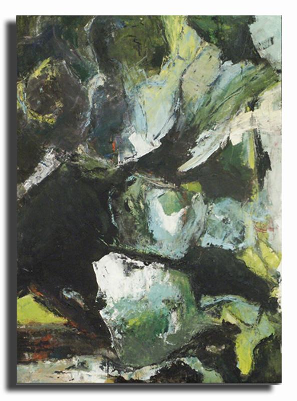 Faille verte Huile sur toile 40cm x 50cm, encadré (Disponible)