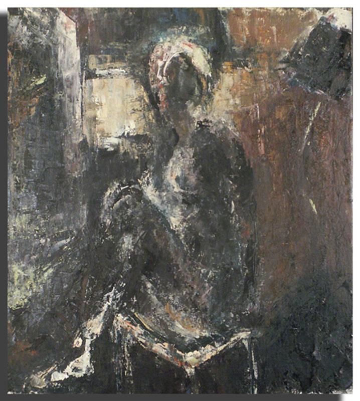 Femme assise noire Huile sur toile 46 x 54 cm (Réservé)