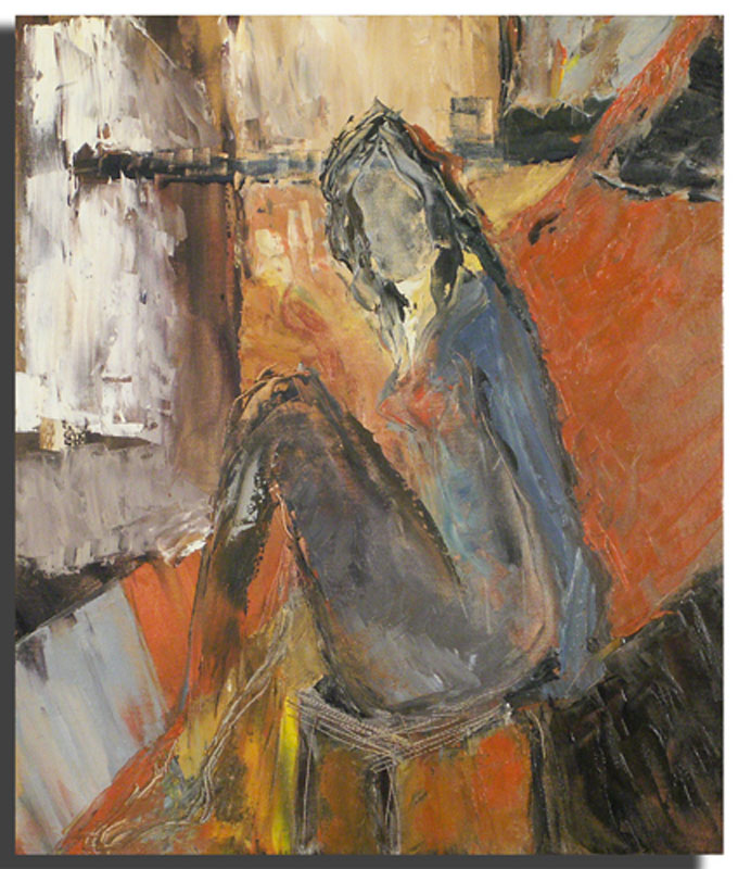 Femme assise rouge Huile sur toile 46 x 54 cm, encadré (Réservé)