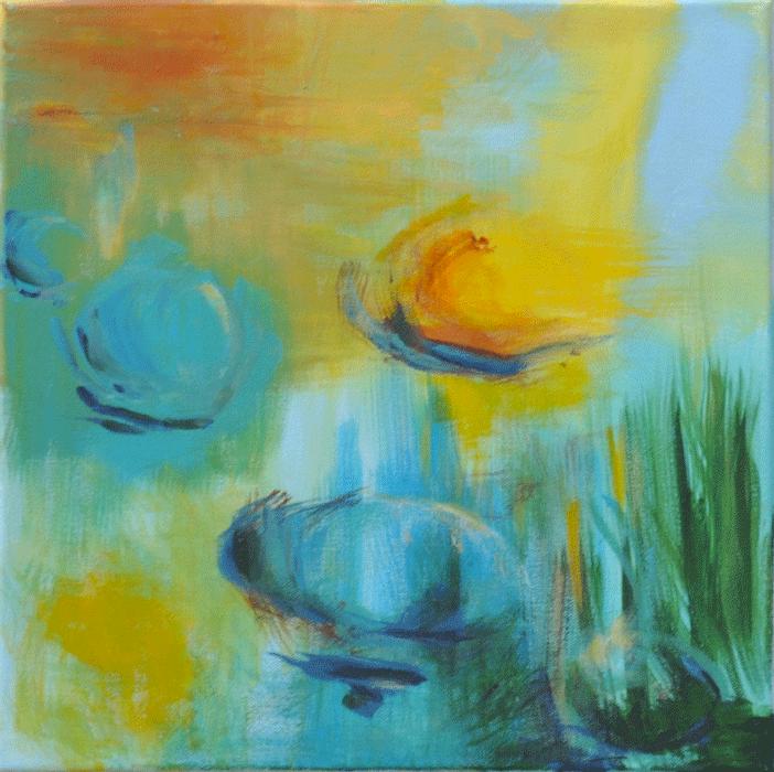 Jeux d'eau Acrylique sur toile 40cm x 40cm (Reservé)