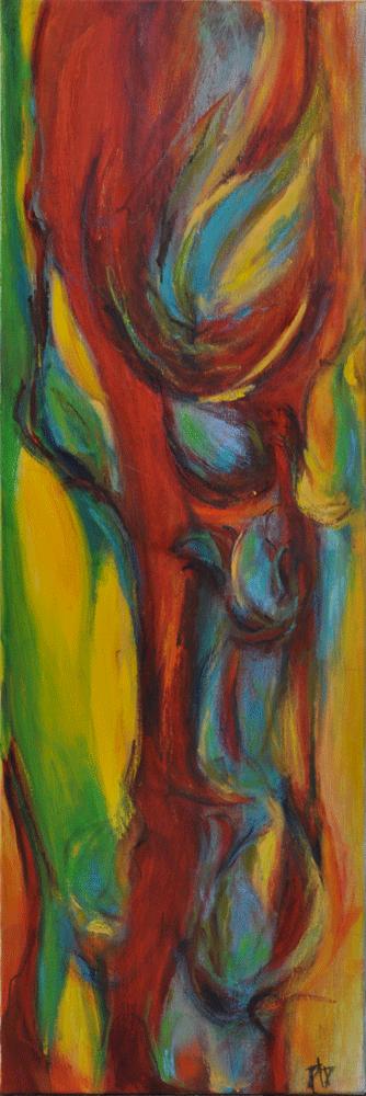 Clématites Acrylique sur toile 40cm x 120cm (Disponible)
