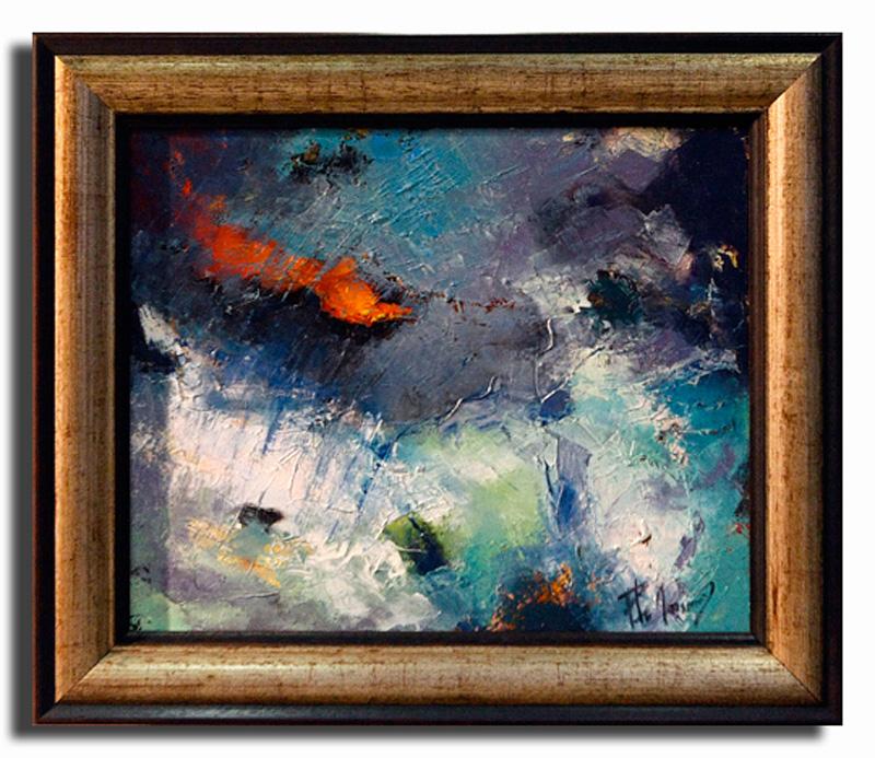 Orange Huile sur toile 40cm x 60cm, encadré (Disponible)