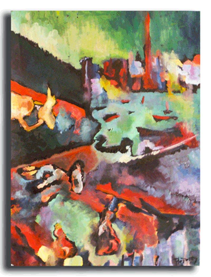 Vue de Benodet le matin Huile sur papier 50 x 70 cm, encadré (Disponible)
