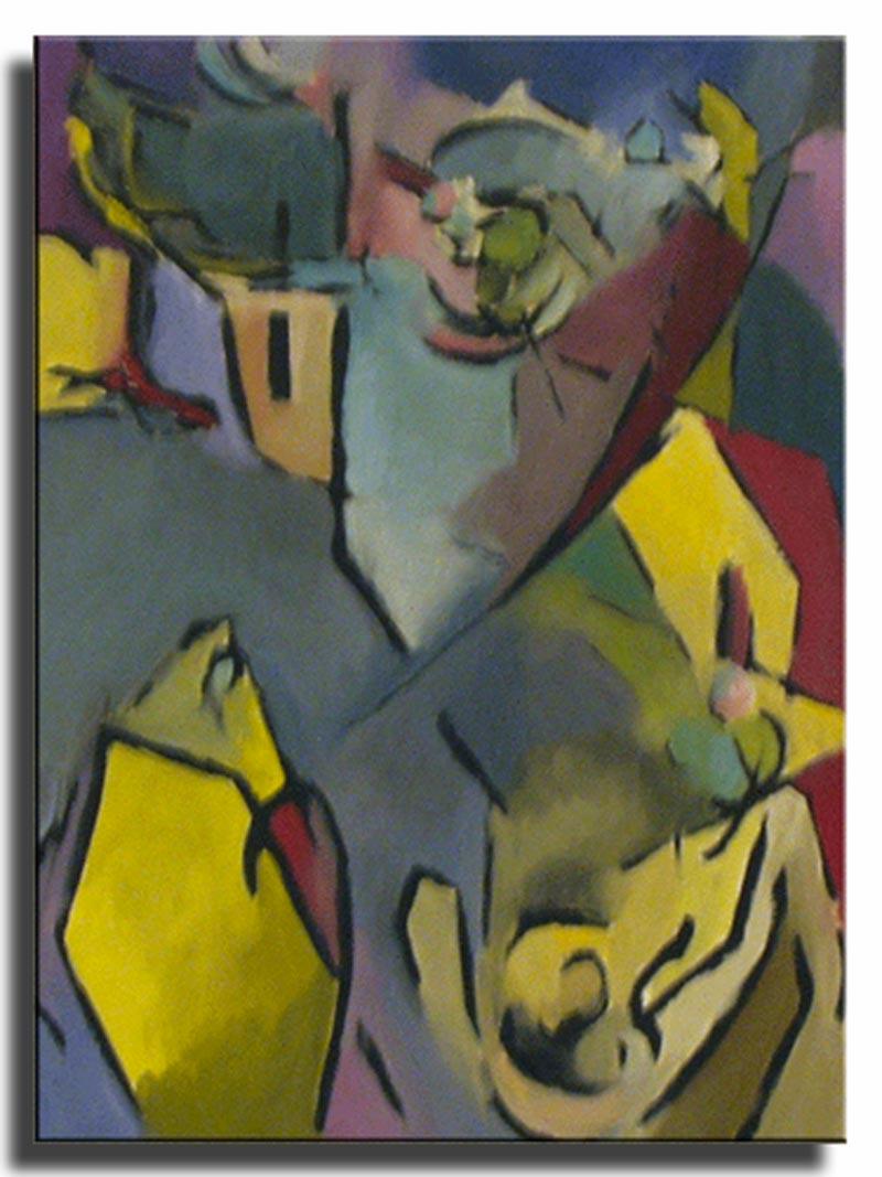 Vue de Benodet l'hiver Huile sur papier 30x50cm (Réservé)