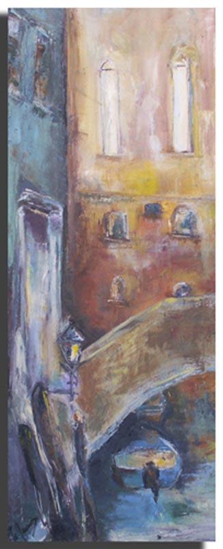 Soirée Huile sur toile 30cm x 70cm, encadré (Disponible)