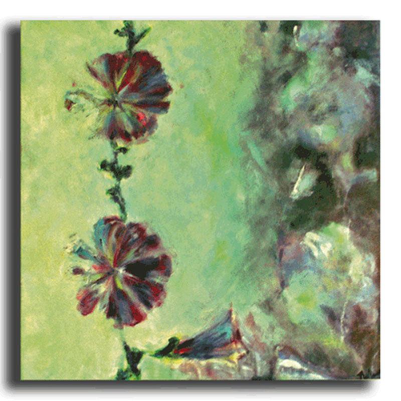Roses trémières Huile sur toile 70x70cm, encadré (Disponible)