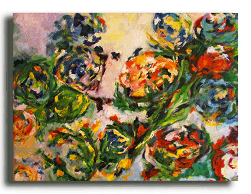 Bouquet Huile sur toile 100 x 80 cm (Disponible)