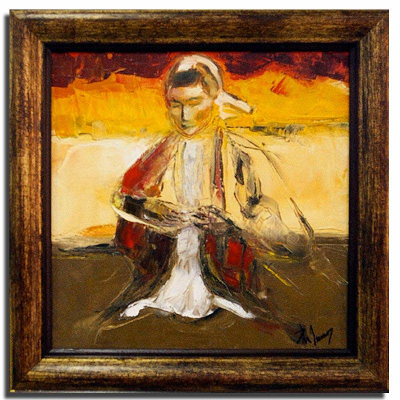 Brodeuse Huile sur toile 40cm x 40cm, encadré (Disponible)