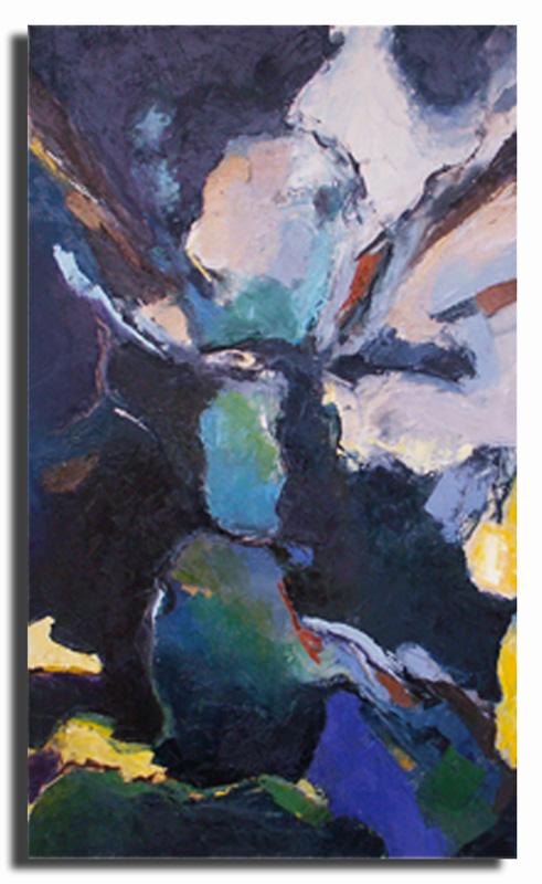Faille bleue Huile sur toile 40cm x 50cm, encadré (Disponible)