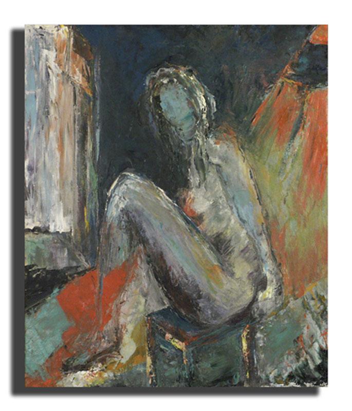 Femme assise bleue Huile sur toile 46 x 54 cm, encadré (Réservé)