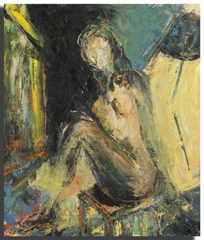 Femme assise jaune Huile sur toile 46 x 54 cm, encadré (Réservé)