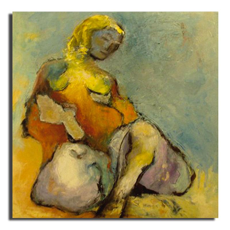 Maternité Huile sur toile 70 x 70 cm, encadré (Réservé)