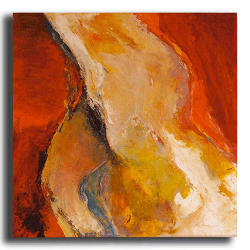 Nu rouge Huile sur toile 70 x 70 cm, encadré (Disponible)