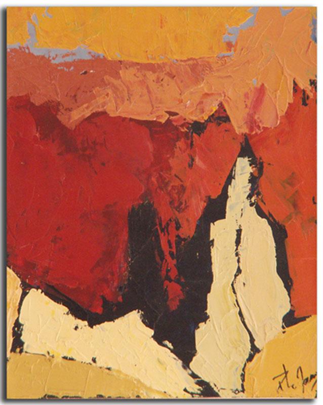 Ocre 2 Huile sur toile 15cm x 22cm, encadré (Réservé)