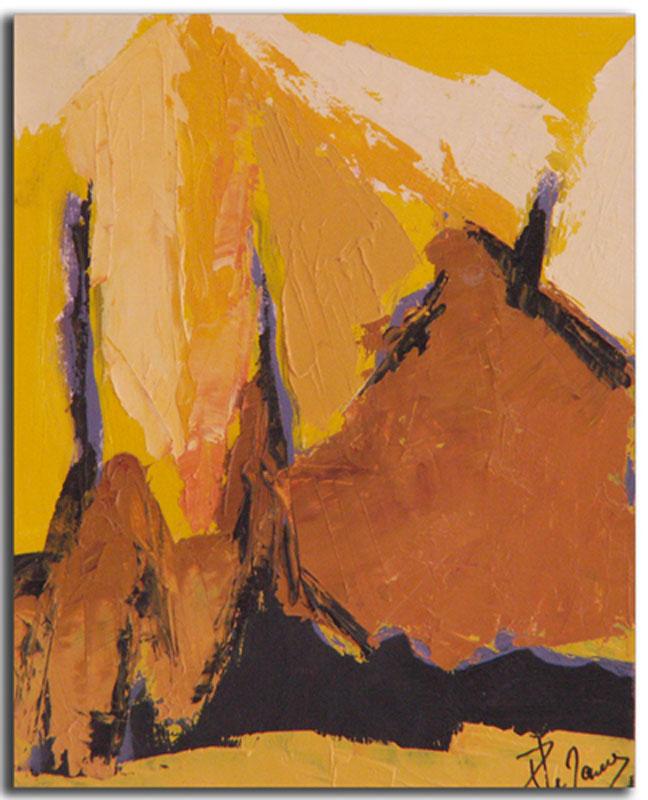 Ocre 5 Huile sur toile 15cm x 22cm, encadré (Réservé)