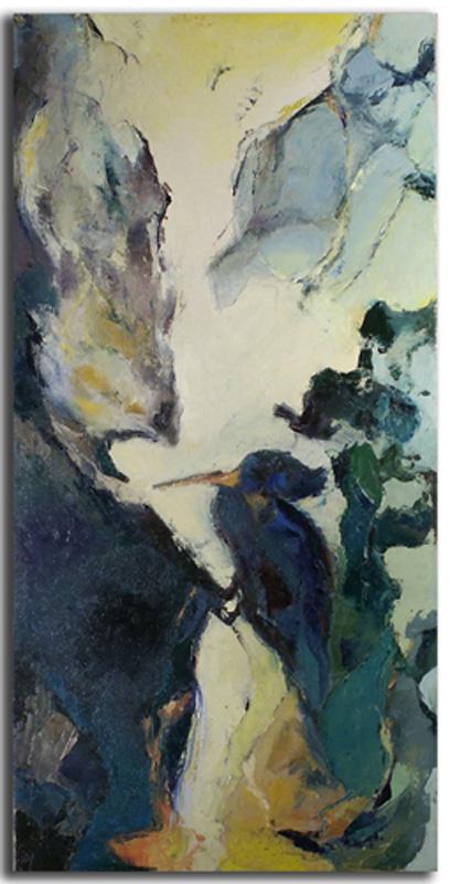 Oiseau Huile sur toile 40cm x 70cm, encadré (Réservé)